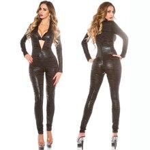 Sexy Women Two Way Zipper Open Crotch Tiger Stripe Shiny Faux Leather Full Bodysuit Pole Dance Elastic Bodysuit Club Wear F45