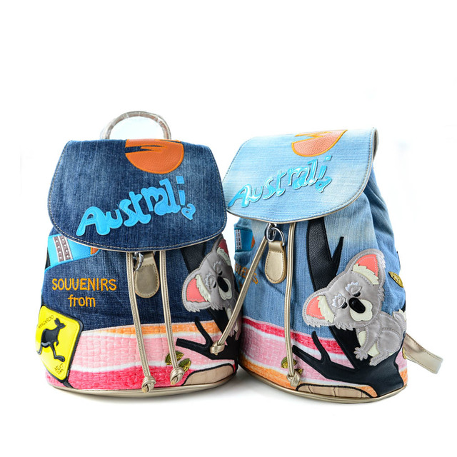 2017 New Arrival Women Fashion Design Cartoon Pattern Backpack Denim Young  Special School Bag Colourful Bagpack 6ef95764df6be