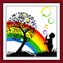 Regenbogen Blase Boy Kid Cartoon Hand, DMC kreuzstich, Baby Stickerei kits, Muster Gezählt Kreuz-stitching, DIY Handgemachten