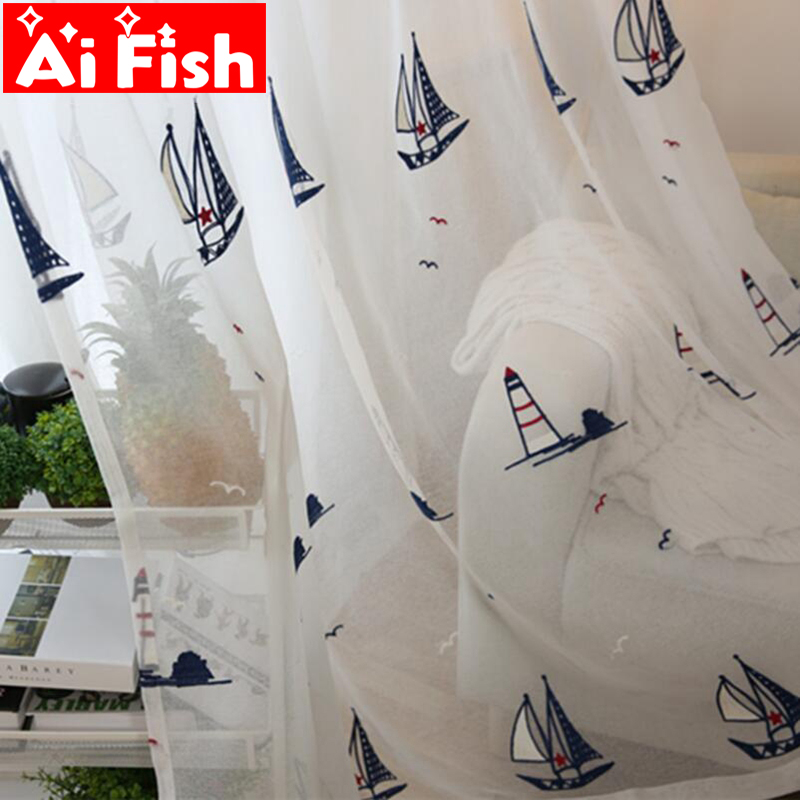 Children 's Bedroom Window Screens Tulle Curtains For Living Room Mediterranean Sailboat Embroidered Sheers Curtains AP225-30