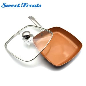 Sweettreats Copper Nonstick Square Induction Fry Pan Lid