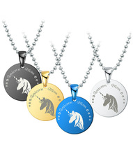 Round Coin Titanium Steel Stainless Card Army Pet Dog Free Bead Chain Horse Head Pendant