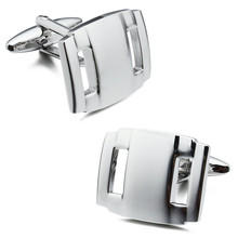 Trendy Square Plain Metal Silver Man Shirt Cuff Links Best Man Gift for Business Free Box