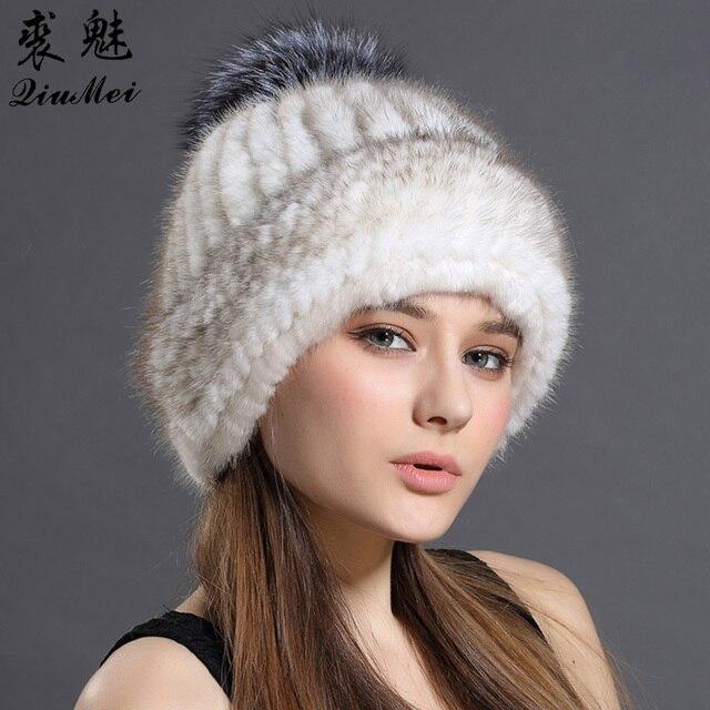 Las mujeres sombreros de piel de visón Real gorros de invierno de 2018  Beanie sombrero para las mujeres de punto ... 516edbde34e