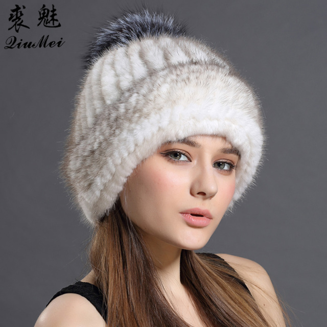 298916c5aa7 Women s Hats Real Mink Fur Beanies 2018 Winter Beanie Hat for Women Knitted  Fur Caps Female