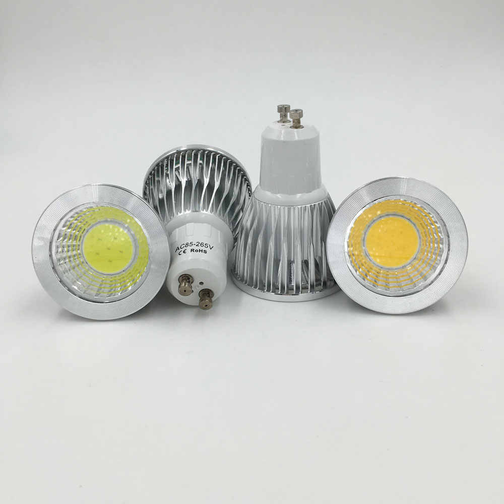 Free shipping 10pcs 3W 5W COB GU10 led spotlight dimmable GU10 led spot light 110V 220V gu10 led lamp warm white indoor lighting