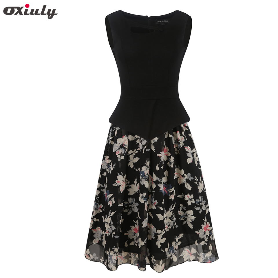 Oxiuly Womens Summer Casual Vintage Floral Print Chiffon Patchwork Sleeveless Tunic Office Wearing Fit and Flare A-Line Dress