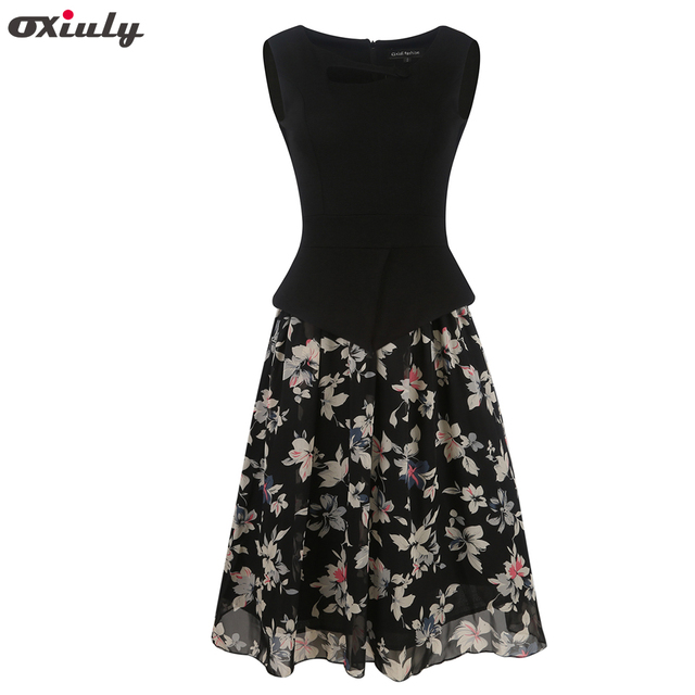 91dea28cb3 Oxiuly Womens Summer Casual Vintage Floral Print Chiffon Patchwork  Sleeveless Tunic Office Wearing Fit and Flare A-Line Dress