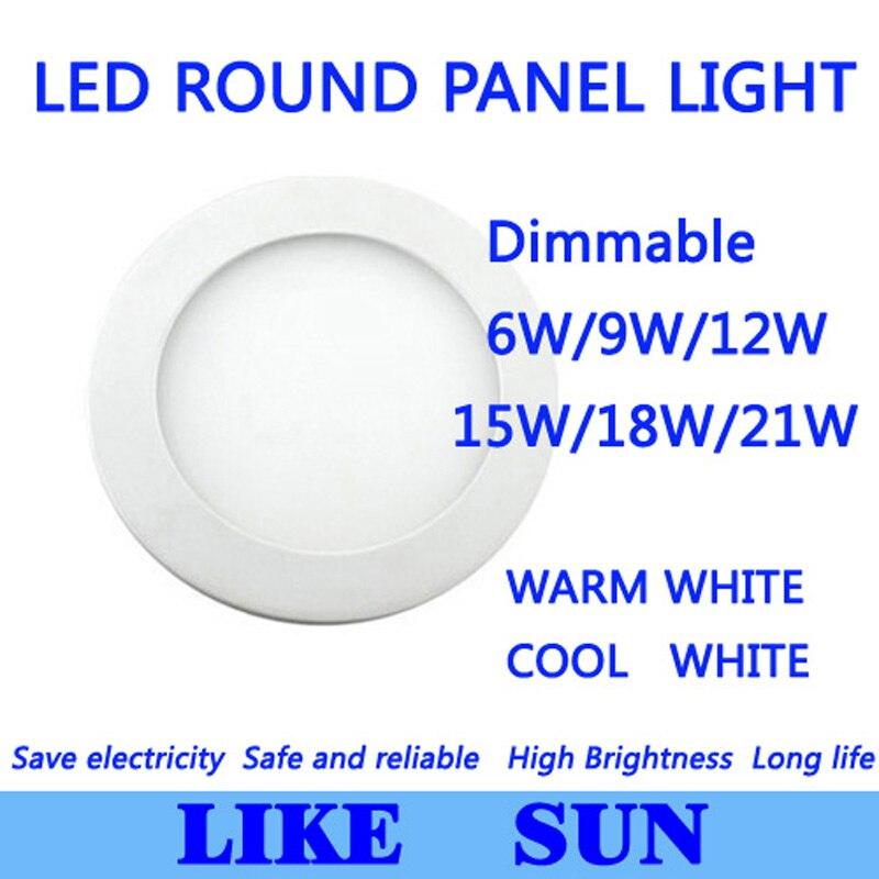 Ultra Bright Ultra tenký stmívatelný 6W 9W 12W 15W / 18W 21W LED stropní zapuštěná mřížka / tenké kulaté světlo do panelu