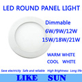 Ultra Bright Ultra thin Dimmable 6W 9W 12W 15W/ 18W 21W LED Ceiling Recessed Grid Downlight / Slim Round Panel Light