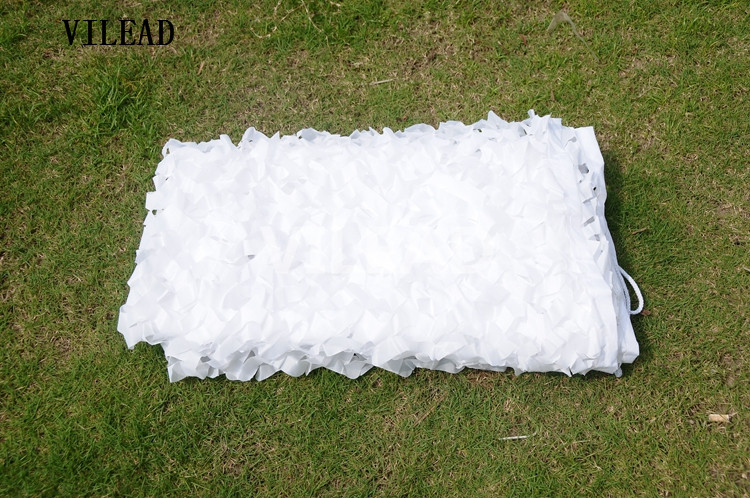 VILEAD 3x4M Snow White Tactical Camouflage Shade Cloth Camo Netting Fabric Clothing for Sun Shade
