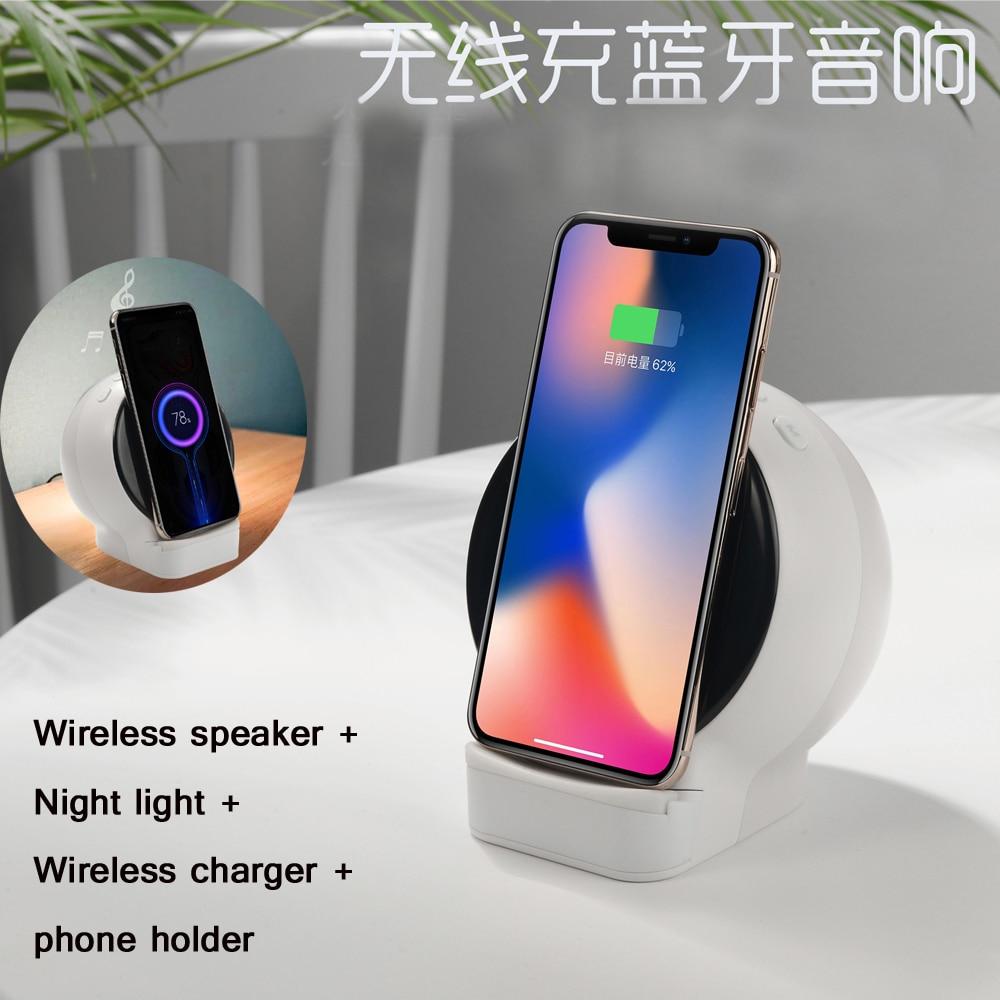 Bluetooth Speaker+Wireless charger+Night light+phone bracket Portable Wireless Loudspeakers Phone charger Multipurpose
