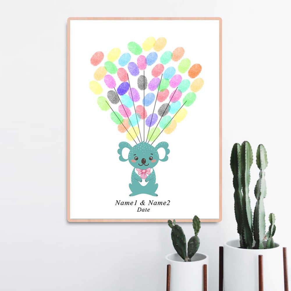 Для подарков для будущей матери для крещения ребенка украшение отпечаток пальцев Подпись картина пожелание книга для гостей день рождения детский сад Дораэмон холст живопись