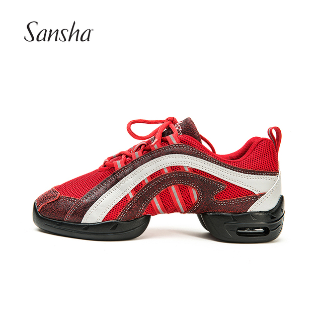 Us 49 6 Sansha Hot Sale Red Mesh Upper Dancing Shoes Split Air Cushion Sole For Jazz Salsa Modern Dance Sneakers P45m In Dance Shoes From Sports