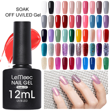 LEMOOC Gel Nail Polish 12ml Semi Permanent Nails Glitter Sequins Soak Off UV Gellak DIY Art Varnish