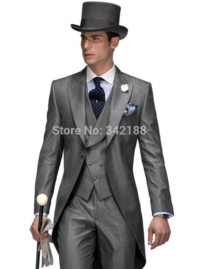 新しい到着長い スタイル グレー新郎タキシード/ベスト マン スーツ/花婿の付添人の ピーク カラーメンズウェディングスーツ (ジャケット + パンツ + ネクタイ + チョッキ) M00