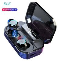 ELE TWS 5.0 Bluetooth 6D Stereo Earphone Wireless Earphones IPX7 Waterproof Earphones 3300mAh LED Smart Power Bank Phone Holder