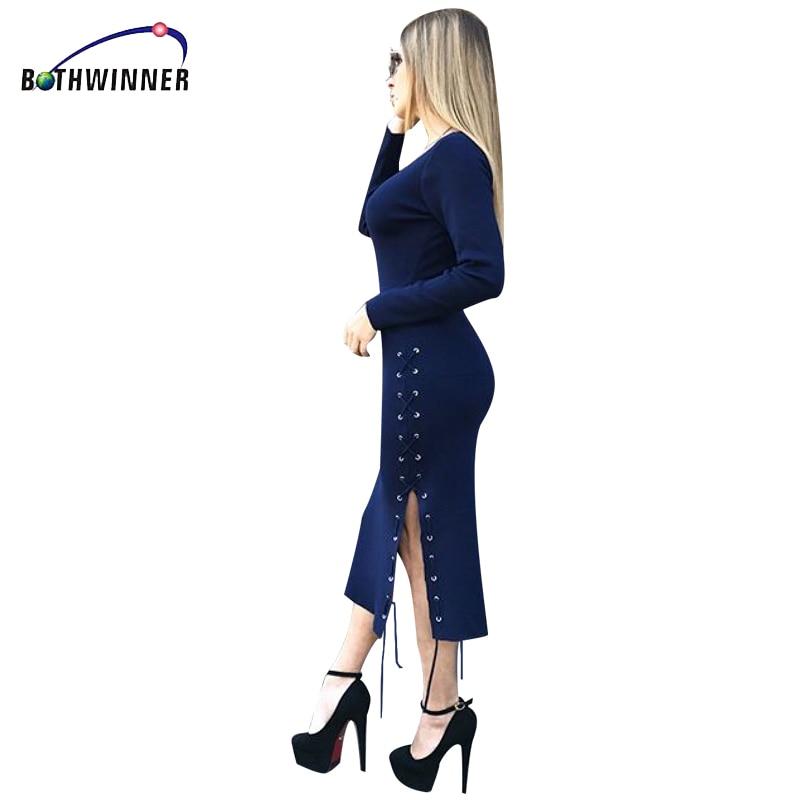 цена Knitted Dresses Woman Cashmere Sweaters Warm Winter Long Sleeve Sexy Slim Female Pullovers  O Neck Sweater Dress  Elegant онлайн в 2017 году
