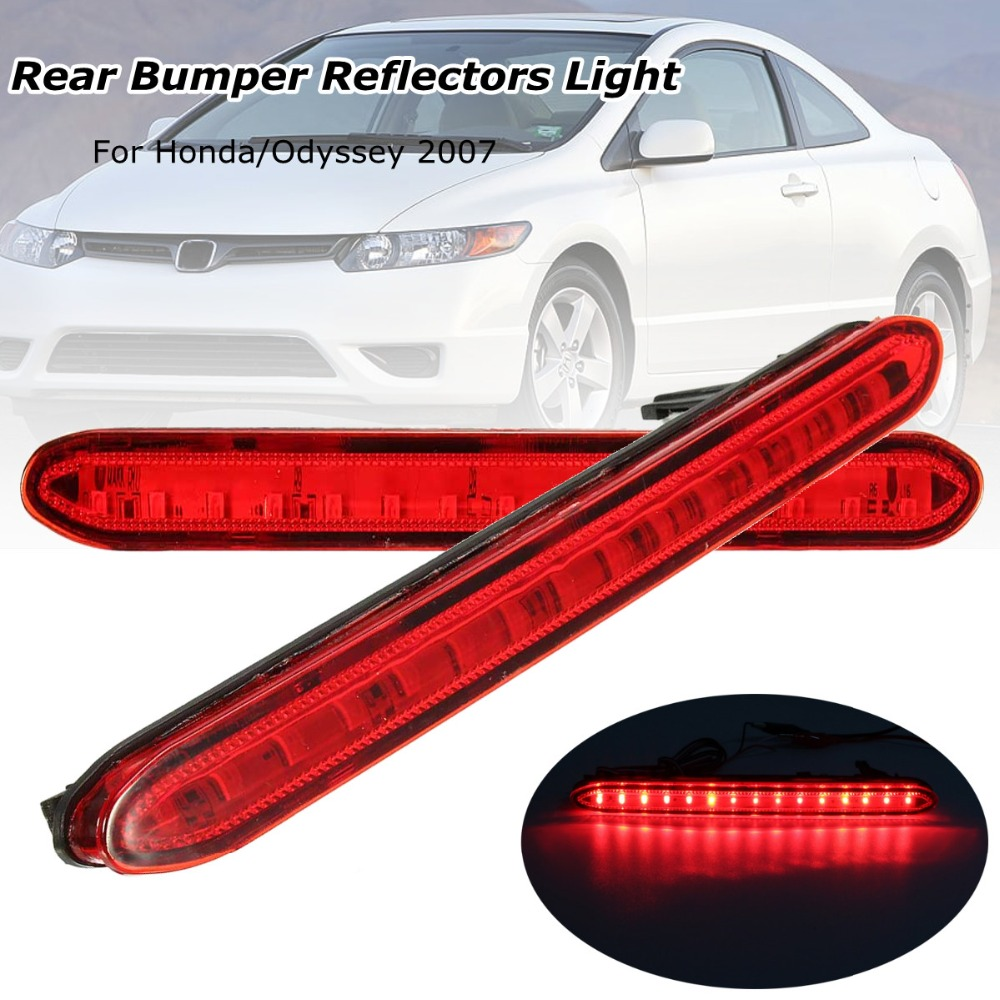 цена 2Pcs Red Rear Bumper Reflectors Light Brake Parking Warning Night Runing Tail Lamps LED For Honda/Odyssey 2007