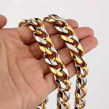 Granny Chic High Quality Polished 316L Stainless Steel 15mm Heavy Silver Gold Curb Mens Cuban Chain Necklace jewelry 7-36