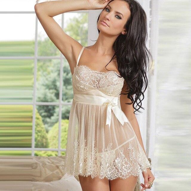 214a24401 Branco Traje Da Noiva Arco Vestido de Renda Roupa de Dormir Mulheres Erotic Lingerie  Vestido Underwear