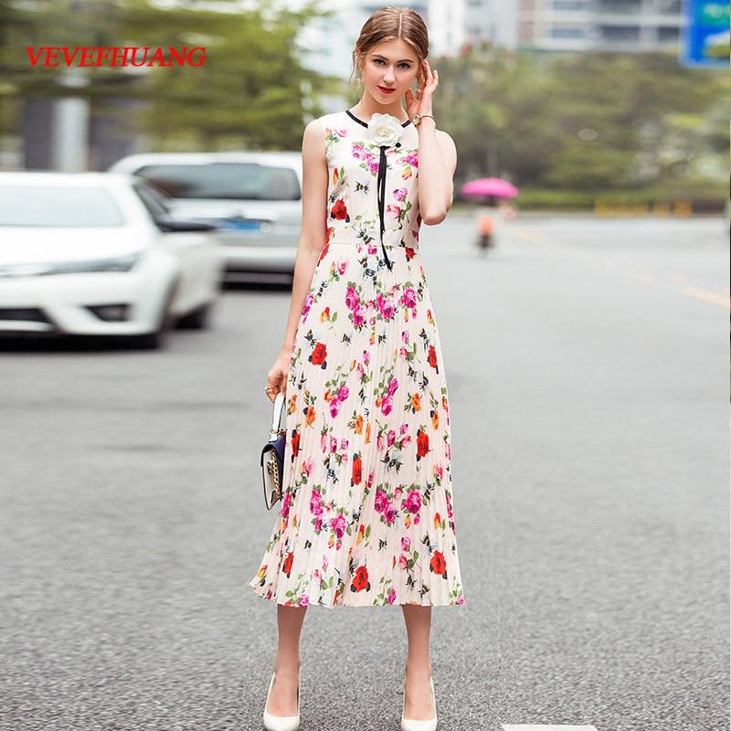 Nouvelle Femelle Plissée 2018 Vevefhuang D'été Style Robes Manches Femmes Haute Qualité Midi Robe Sans Fleur Partie Imprimer Picture As qHwd5C