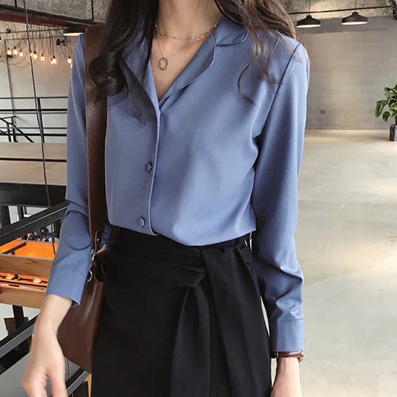 2c6e42288eb2 Women Tops And Blouses Stylish Ladies Clothes Korean Fashion Plus Size  Women's Long Sleeve Button Shirt