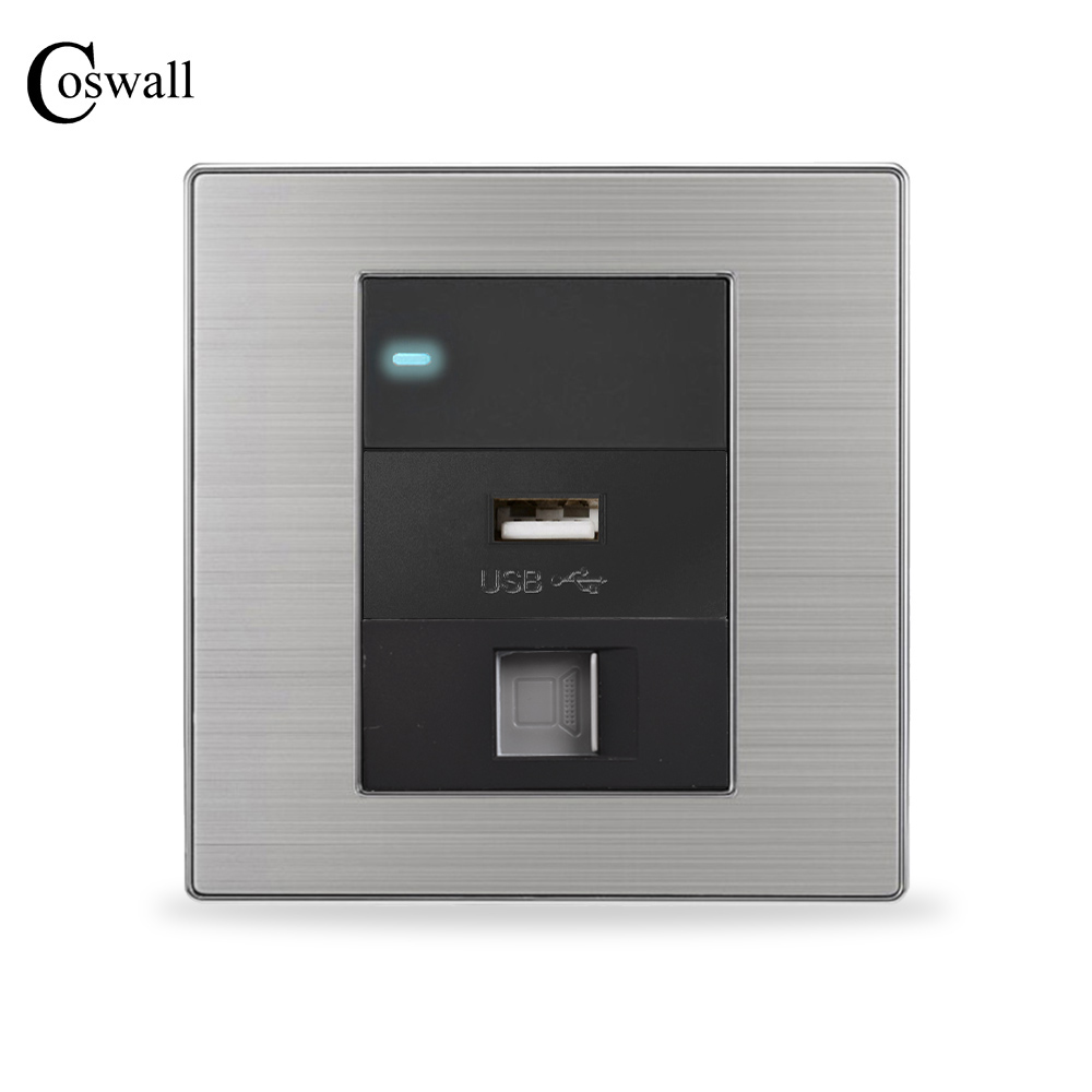 Coswall USB Charging Port For Mobile Phone + RJ45 Internet Wall Socket + 1 Gang 2 Way Light Switch With LED Indicator 2 port rj45 network connectors w led indicator silver 4 pcs