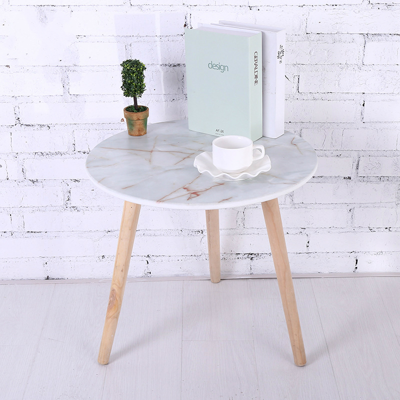 Imitation Marble Solid Wood Small Tea Table, Creative Small Round Table, Simple Living Room Sofa Table coffee table simple modern creative small coffee table round folding tea table small size living room wood tea table