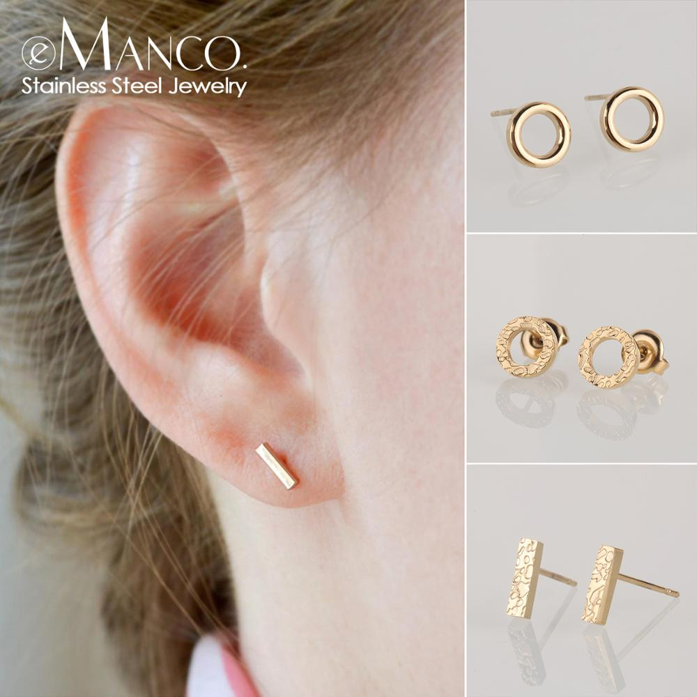 e-Manco stainless steel stud earrings for women korean small earings fashion jewelry minimalist women earrings stud wholesale