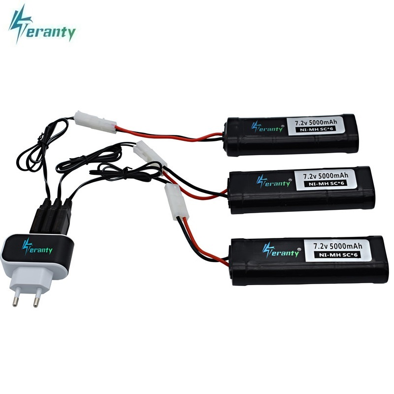 7Pcs/Sets <font><b>7.2v</b></font> Battery 5000mAh 15c SC*6 Cells Ni-MH Battery Pack with Kep-2p <font><b>Tamiya</b></font> Discharge Connector for RC Racing Cars Boats image
