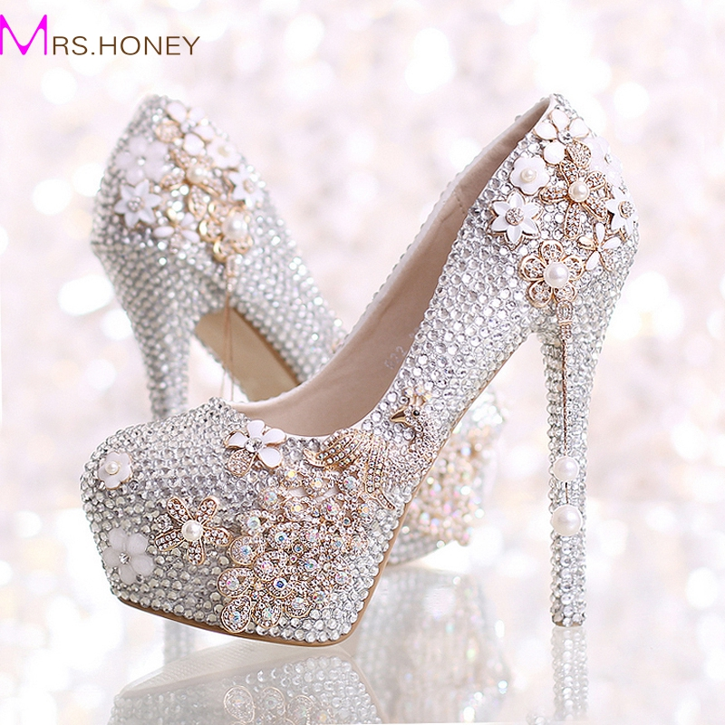 Handmade AB Crystal Color Wedding Shoes Phoenix 2017 Newest Fashion Prom Party Formal Dress Shoes Bridesmaid High Heels Pumps