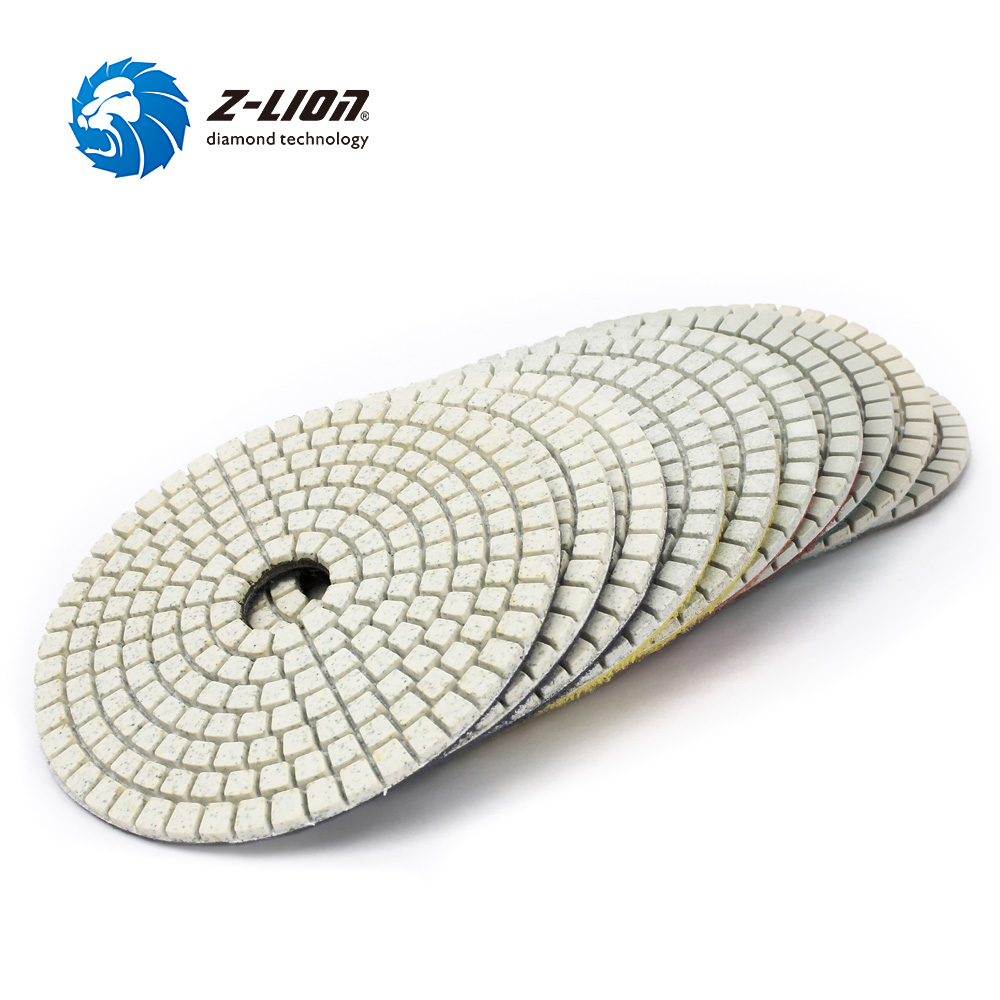 4 Inch Wet 3 Step Diamond Polishing Pad Abrasive Disc for Granit Marble Concrete Flexible Grinding by Z-LION