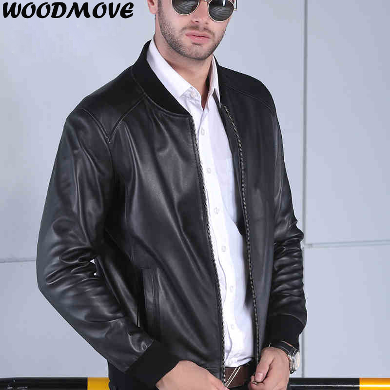 Men Leather Jacket Genuine Real Sheep Goat Skin Brand Male Bomber Motorcycle Biker Man's Coat 4XL Genuine Leather Coat for Men
