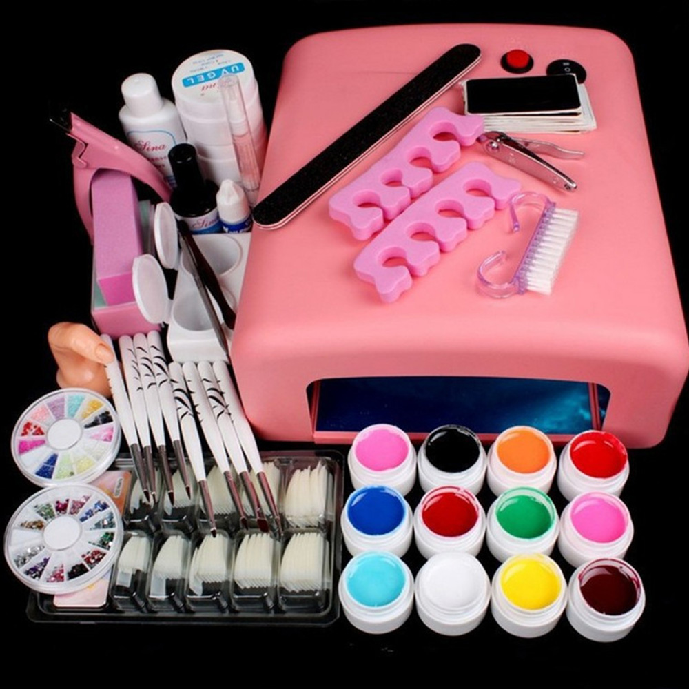 36W Nail Dryer Lamp UV Gel Nail Art Kits Manicure Set With Rinestone French Tips UV