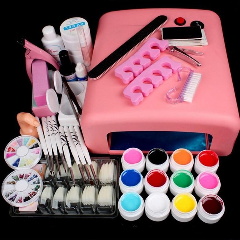 36 W ongles sèche lampe UV Gel ongles Art Kits manucure ensemble avec Rinestone français conseils UV Gel brosse paillettes poudre ongles extensions Kits