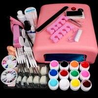 36W Nail Dryer Lamp UV Gel Nail Art Kits Manicure Set With Rinestone French Tips UV Gel Brush Glitter Powder Nail Extension Kits
