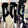 Spring Autumn slim Pencil Pants For Men Harem Hip Hop England Rivet Straps Chain Zipper Skull  Casual Punk Mens Skinny Pants