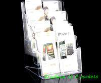 Free Shipping Clear A6 Eight Pockets Plastic Acrylic Brochure Literature Pamphlet Display Holder Racks Stand To
