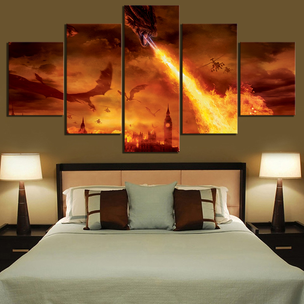 5 Piece Fantasy Art HD Pictures Dragon Burn London Poster Reign of Fire Artwork Movie Poster Canvas Paintings Wall Art Paintings 1