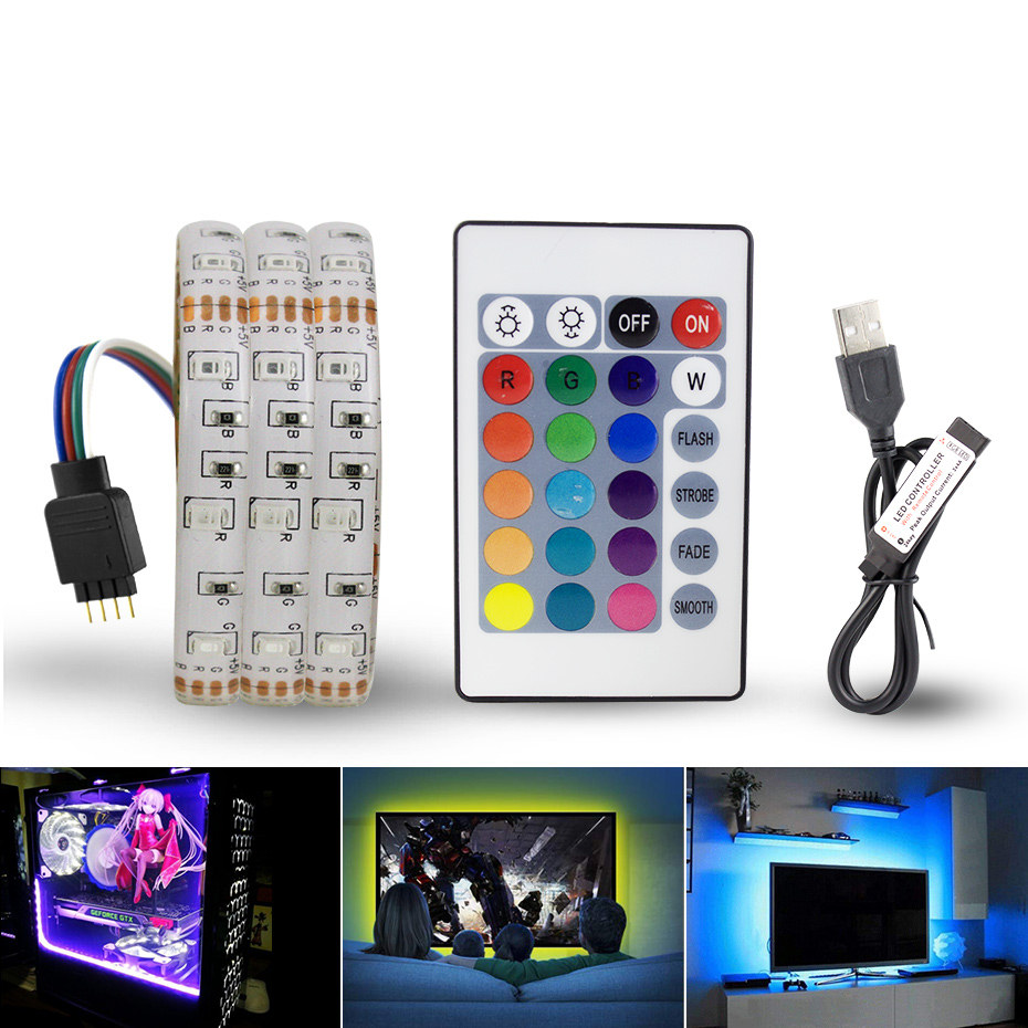 DC 5V USB LED Strip Light 0.5-5m RGB White Warm White Flexible Ribbon Adhesive Tape Waterproof Computer TV Background Lamp 3528