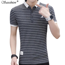 Polo Shirt Men 2019 Summer Male Fashion Turn-down Collar 95% Cotton Short Sleeve Business Casual Striped Polos Shirts Homme Tees стоимость