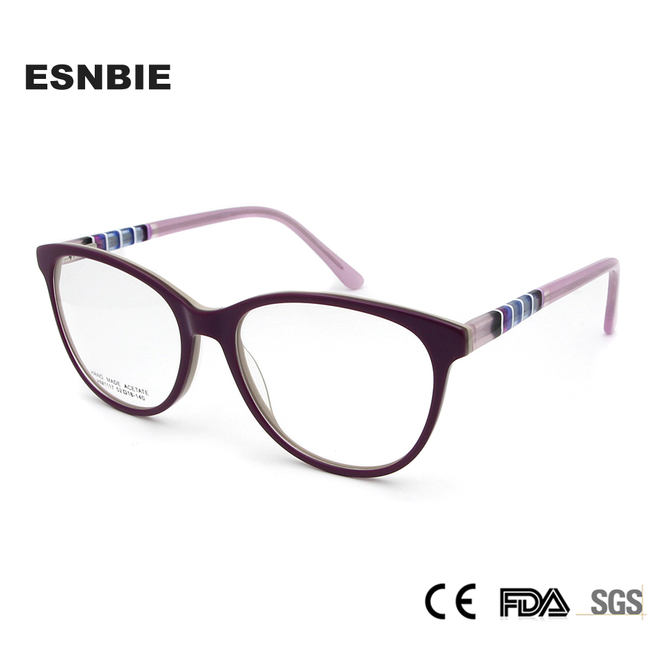 ESNBIE Acetate Trendy Womens Optical Glasses Frame Oval Fashion Women Eyeglasses Vintage Glass for Ladies