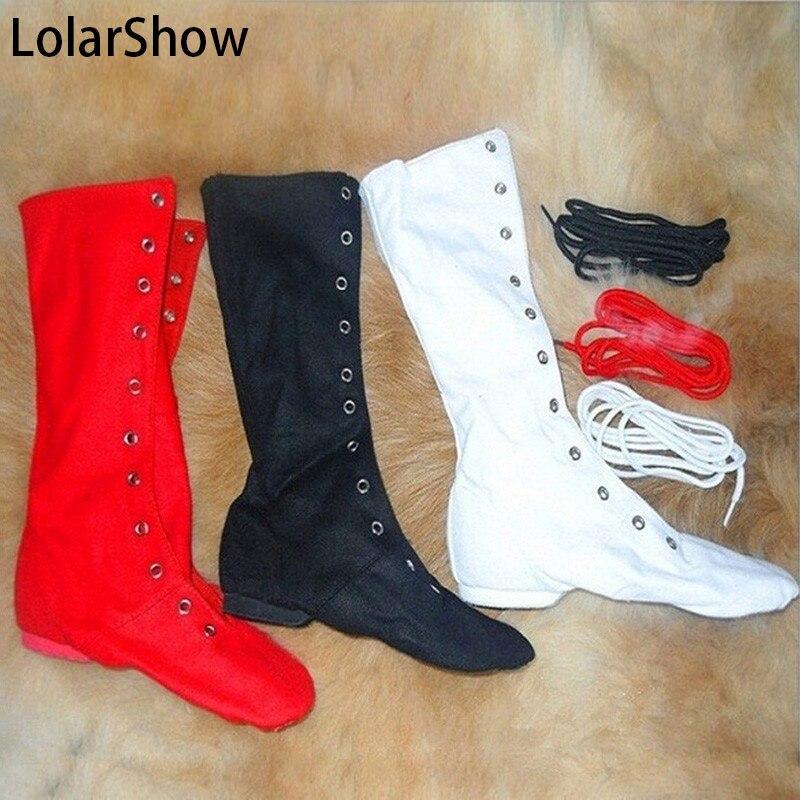 Mens Women UNISEX Modern CANVAS Jazz Ballet Dance Shoes Lace Up Boots Gymnastics Jazz Dance Boots