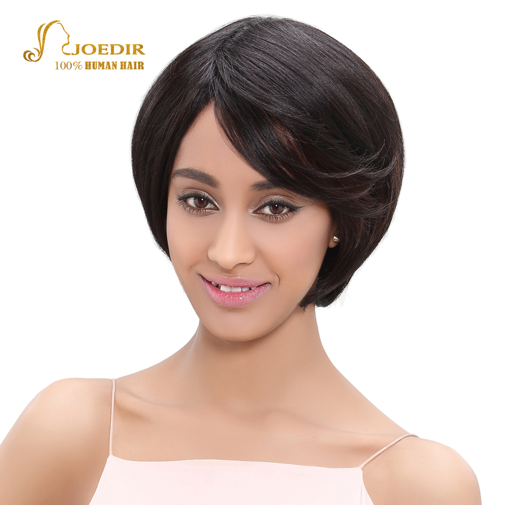 Joedir Brazilian Straight Hair Bob Wig Short Pixie Cut Wigs For Black Women Black Brown Human Hair Wigs None Lace Wig