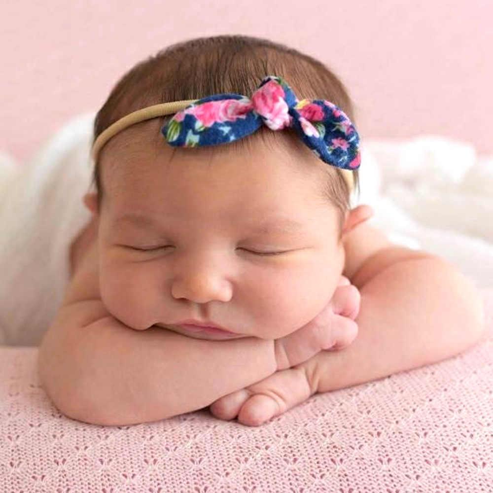 תינוקת ניילון גומייה לשיער עם מודפס יילוד Bow קשר סרט בד קשר תינוק כיסוי ראש ילדים ילדי טורבן Bebes שיער קשתות