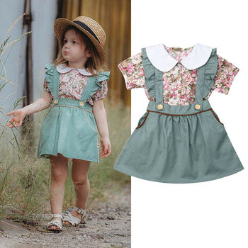 0 1 2 3 4 Years Age Baby Skirt Set 2pcs  New Floral Top T shirt Ruffle Strap Suspender Outfit Kids Girls Clothes