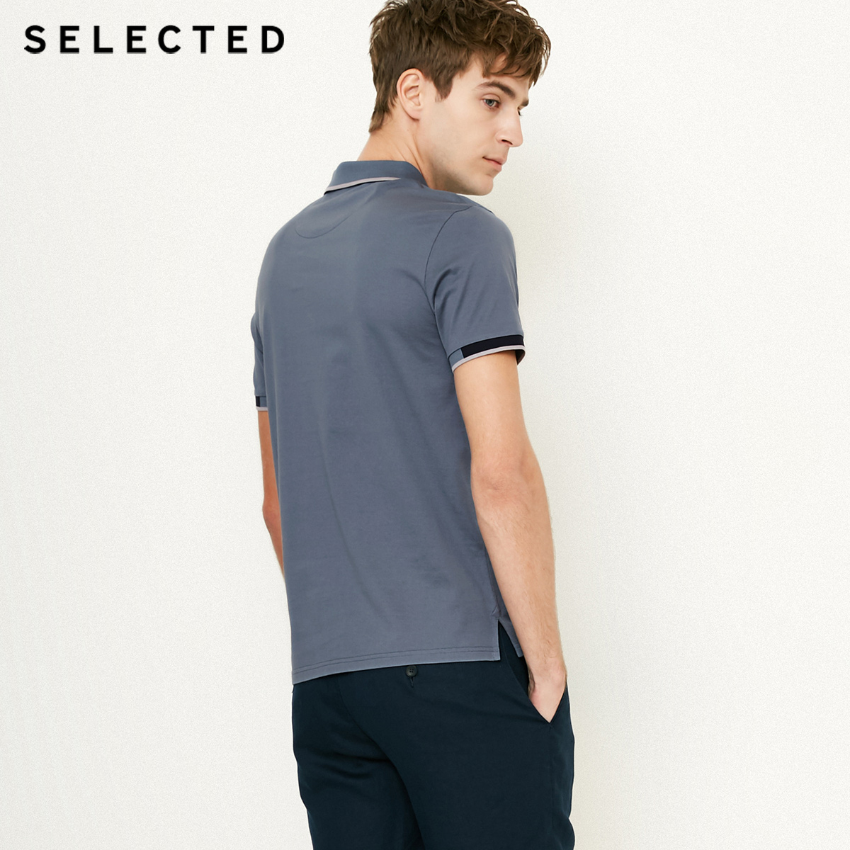 Image 3 - SELECTED  Mens Cotton Color Splicing Leisure  Collar Poloshit S41823Z523T-Shirts