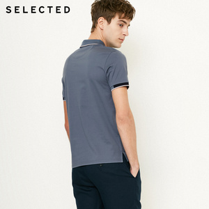 Image 3 - SELECTED  Mens Cotton Color Splicing Leisure  Collar Poloshit S