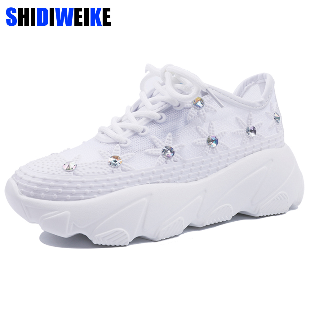Womens Shoes White Sneaker Women Platform Thin Mesh Breathable Rhinestone Lace-up Summer Flower Ladies Shoes Sneakers g317Womens Shoes White Sneaker Women Platform Thin Mesh Breathable Rhinestone Lace-up Summer Flower Ladies Shoes Sneakers g317